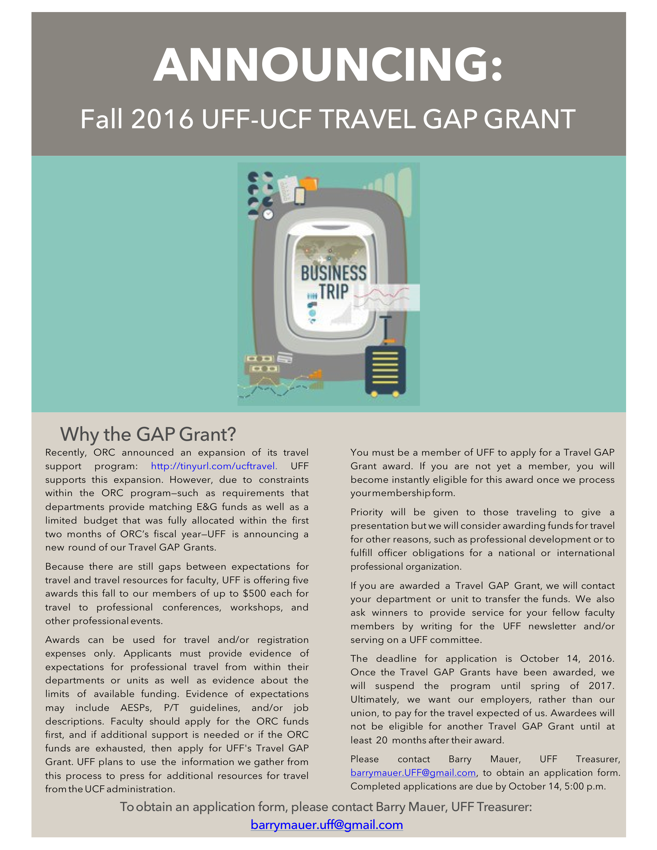 Travel Gap Grant Poster - Fall 2016